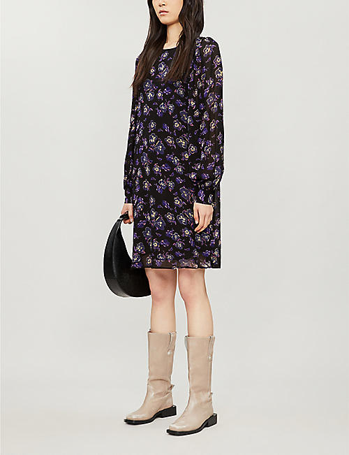 GANNI Floral-print puff-sleeve crepe shift mini dress