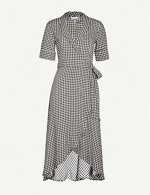 GANNI Gingham woven midi dress
