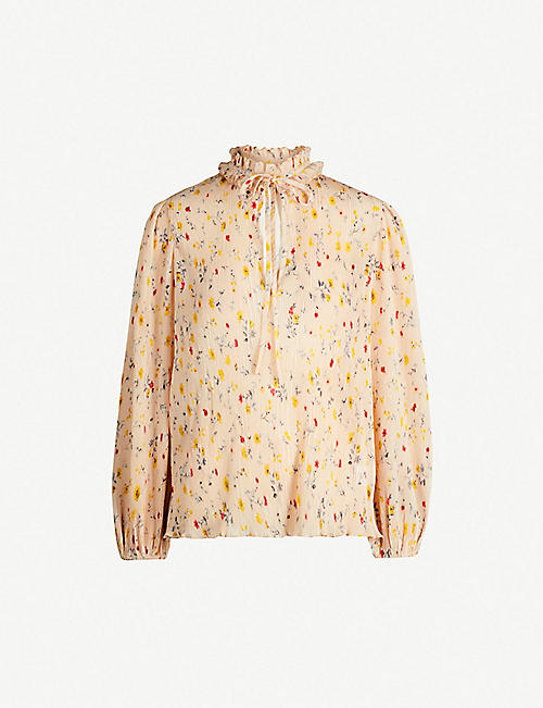 GANNI Floral-print pleated blouse