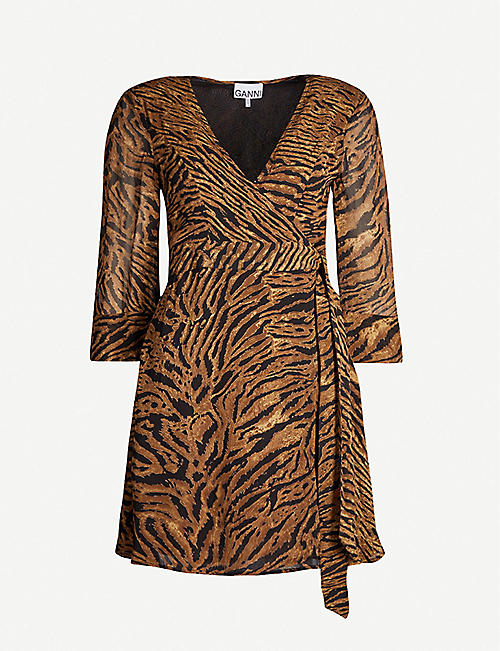 GANNI Tiger-print V-neck crepe mini dress