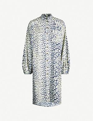 7c8e05908de8 GANNI - Leopard-print cotton-poplin midi shirt dress | Selfridges.com