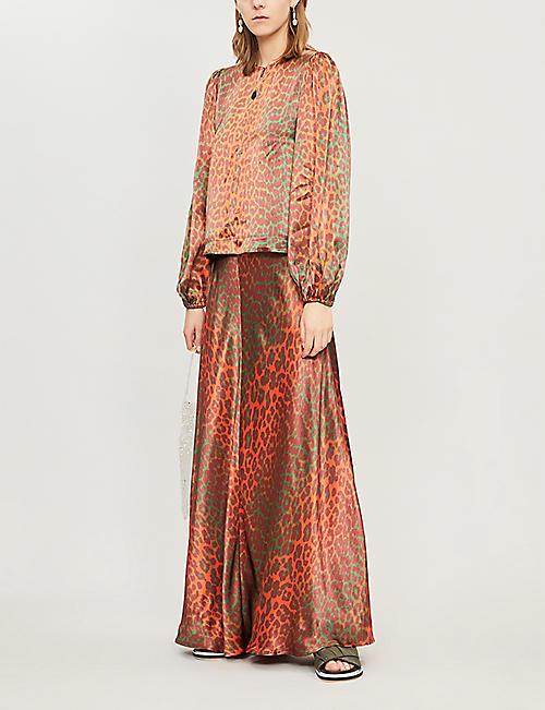 df6adbb6c GANNI Leopard-print satin maxi skirt