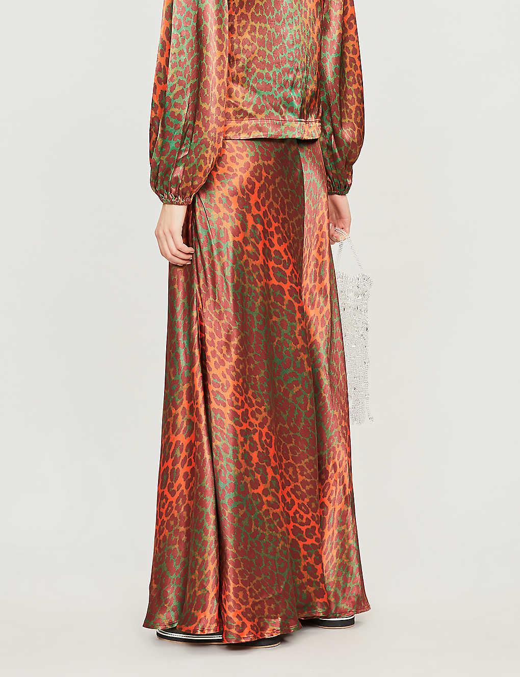 203f18197 GANNI - Leopard-print satin maxi skirt | Selfridges.com