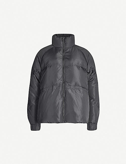 GANNI: High-neck quilted shell-down jacket