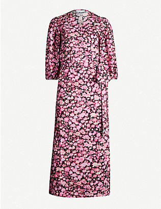 GANNI: Floral-print puffed-sleeve cotton midi dress