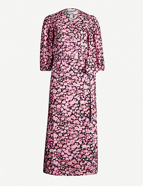 GANNI Floral-print puffed-sleeve cotton midi dress