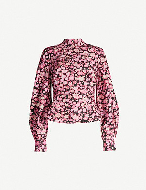 GANNI Floral-print puffed-sleeve cotton top