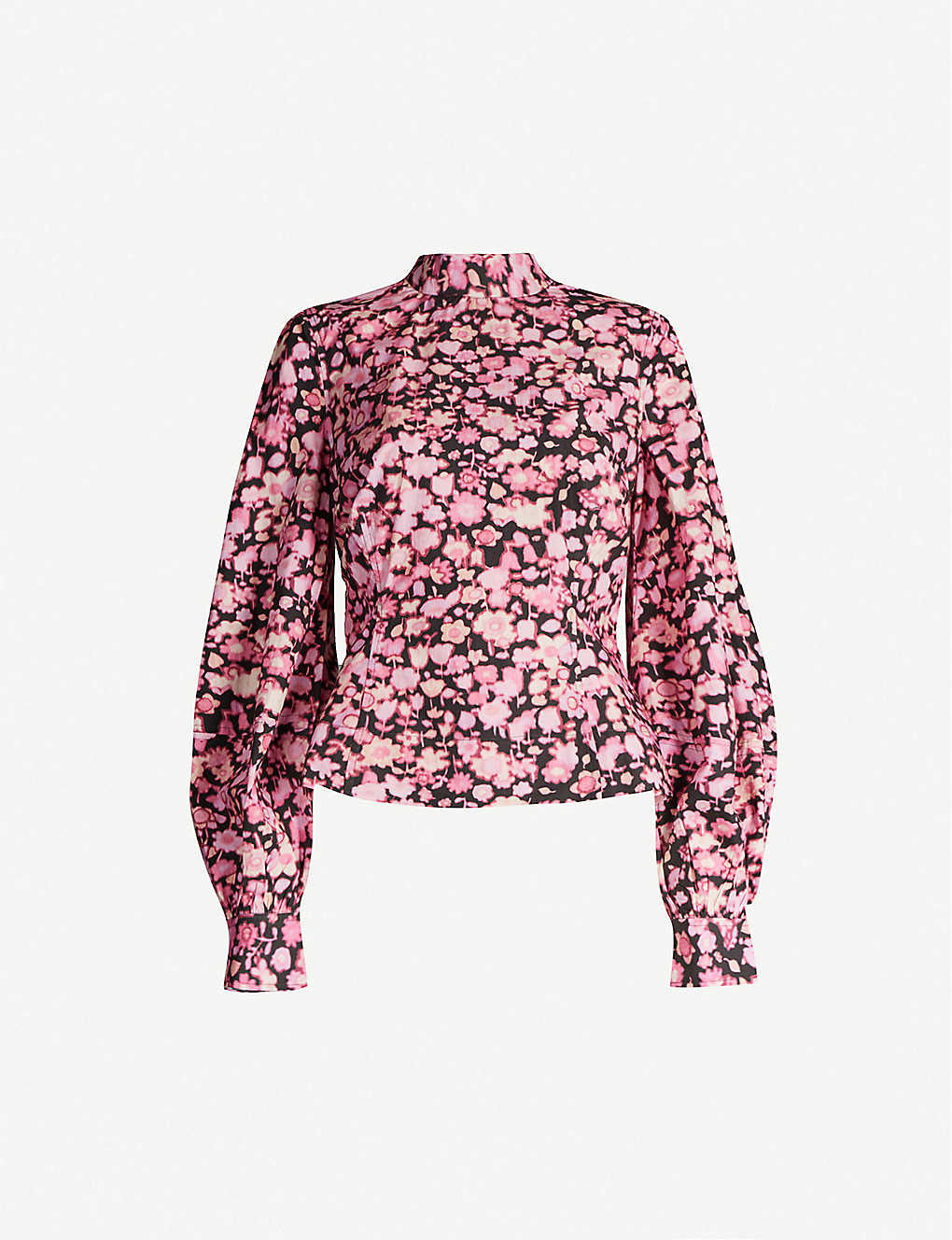 GANNI: Floral-print puffed-sleeve cotton top