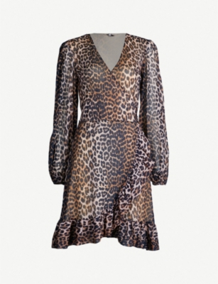 GANNI Tilden leopard-print chiffon wrap dress