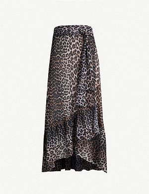d31a8e708 GANNI · Tilden mesh wrap skirt · GANNI Leopard-print crepe midi skirt