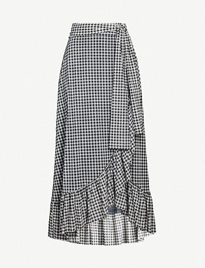 e9bec41be GANNI · Gingham crepe wrap skirt · GANNI Blakely leopard-print flared  stretch-silk skirt