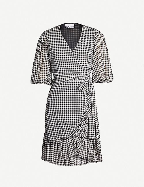 03d2a575a3d GANNI Gingham ruffled mesh mini dress