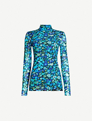 GANNI Floral-print turtleneck stretch-mesh top