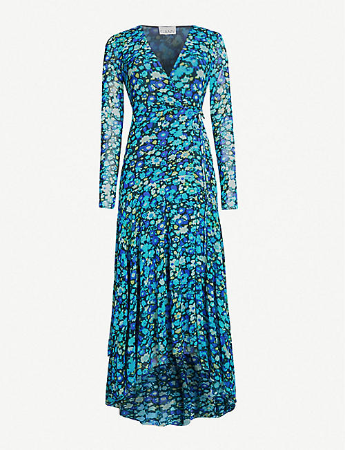 GANNI Floral-print wrap over stretch-mesh maxi dress