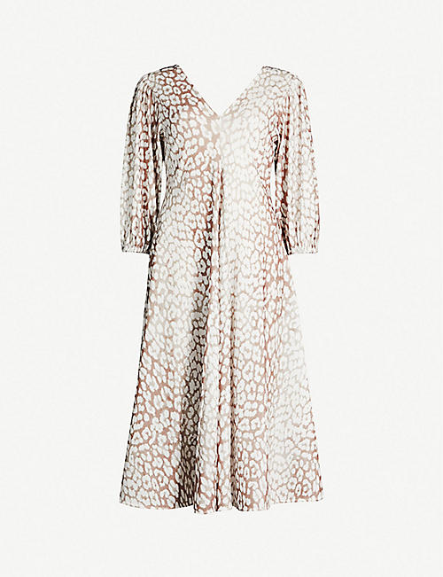 d4347da40bb GANNI Animal-print balloon-sleeved metallic-jersey dress