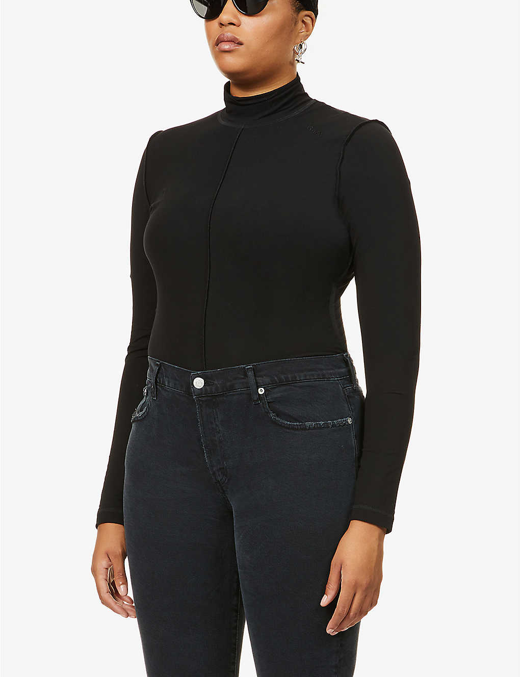 GANNI: High-neck stretch-jersey top
