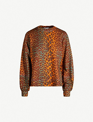 GANNI Isoli metallic leopard-print cotton-jersey sweatshirt