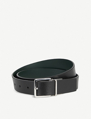 PAUL SMITH ACCESSORIES Saffiano Cut-To-Fit reversible leather belt