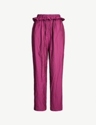 ISSEY MIYAKE Cropped wide high-rise ruched trousers