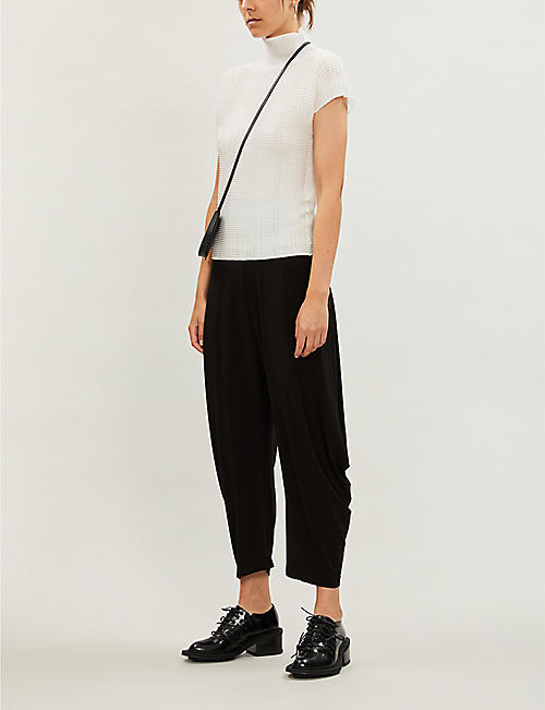 ISSEY MIYAKE High-neck pleated crepe top