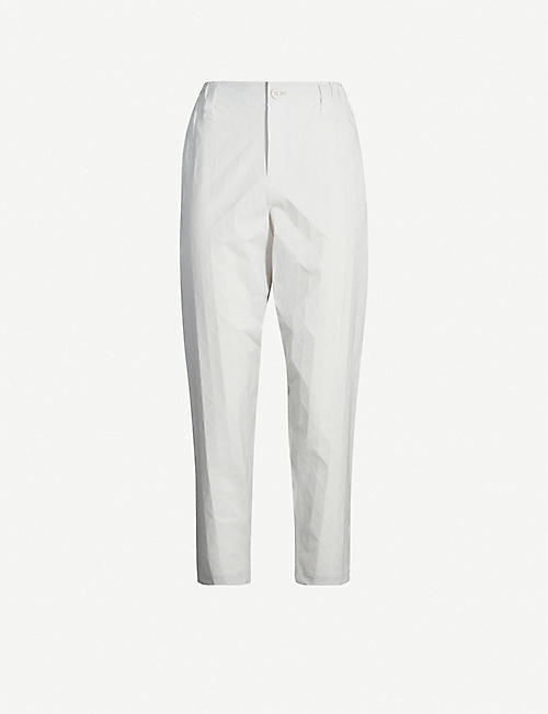 ISSEY MIYAKE Geometric-print high-rise woven trousers