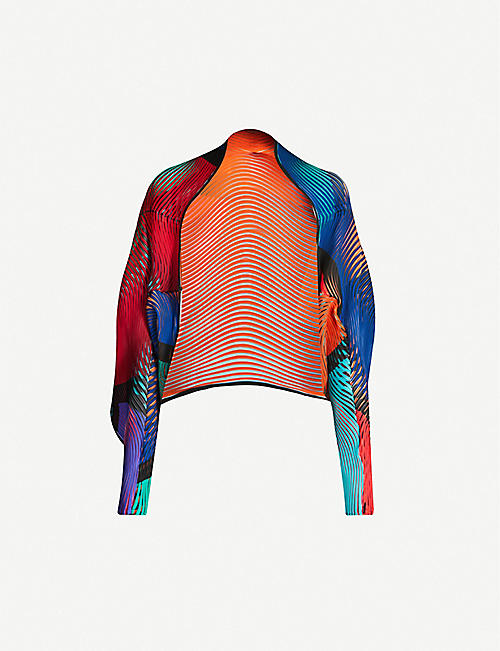 ISSEY MIYAKE Printed pleated woven jacket