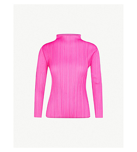 Pleats Please Issey Miyake Tops Basics high-neck pleated top