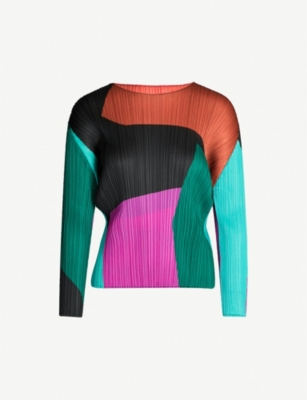 PLEATS PLEASE ISSEY MIYAKE Colour-blocked pleated top