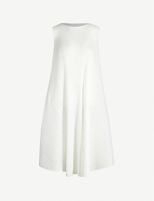 PLEATS PLEASE ISSEY MIYAKE Luster boat-neck asymmetric pleated midi dress