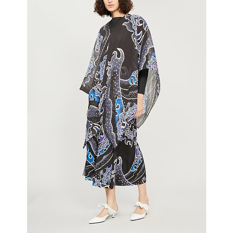 Pleats Please Issey Miyake MADAME T ABSTRACT-PRINT PLEATED SCARF