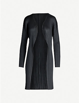PLEATS PLEASE ISSEY MIYAKE: Basic semi-sheer relaxed-fit pleated coat