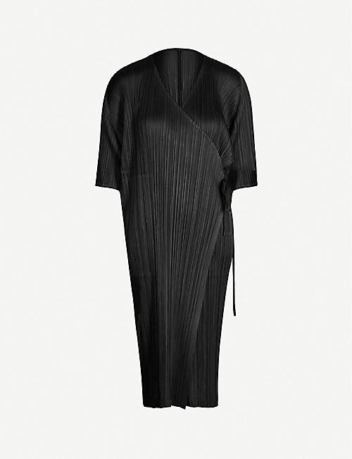 PLEATS PLEASE ISSEY MIYAKE Pleated satin wrap coat