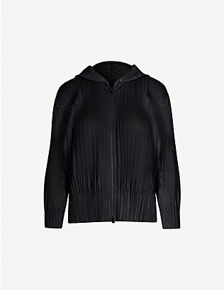 PLEATS PLEASE ISSEY MIYAKE: Open-front pleated crepe coat