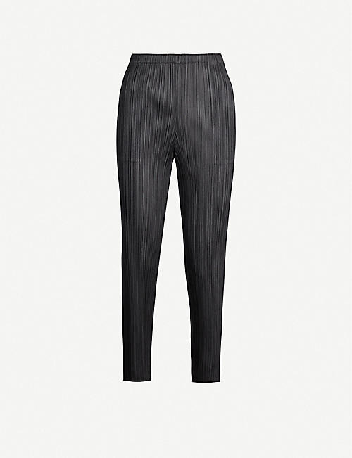 PLEATS PLEASE ISSEY MIYAKE: Pleated slim-fit woven trousers