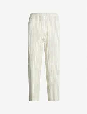 PLEATS PLEASE ISSEY MIYAKE Cropped high-rise pleated crepe trousers