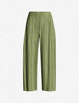 PLEATS PLEASE ISSEY MIYAKE Cropped relaxed-fit woven pleated trousers