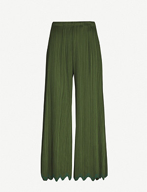 PLEATS PLEASE ISSEY MIYAKE Rippled Waves scalloped wide-leg woven trousers