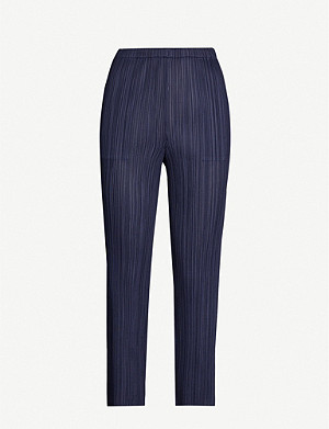 PLEATS PLEASE ISSEY MIYAKE Cropped tapered slim-fit satin trousers