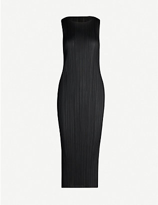 PLEATS PLEASE ISSEY MIYAKE: Sleeveless satin pleated midi dress