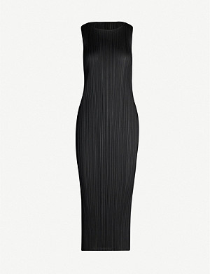 PLEATS PLEASE ISSEY MIYAKE Sleeveless satin pleated midi dress
