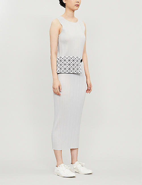 58d748f371 PLEATS PLEASE ISSEY MIYAKE Sleeveless satin pleated midi dress