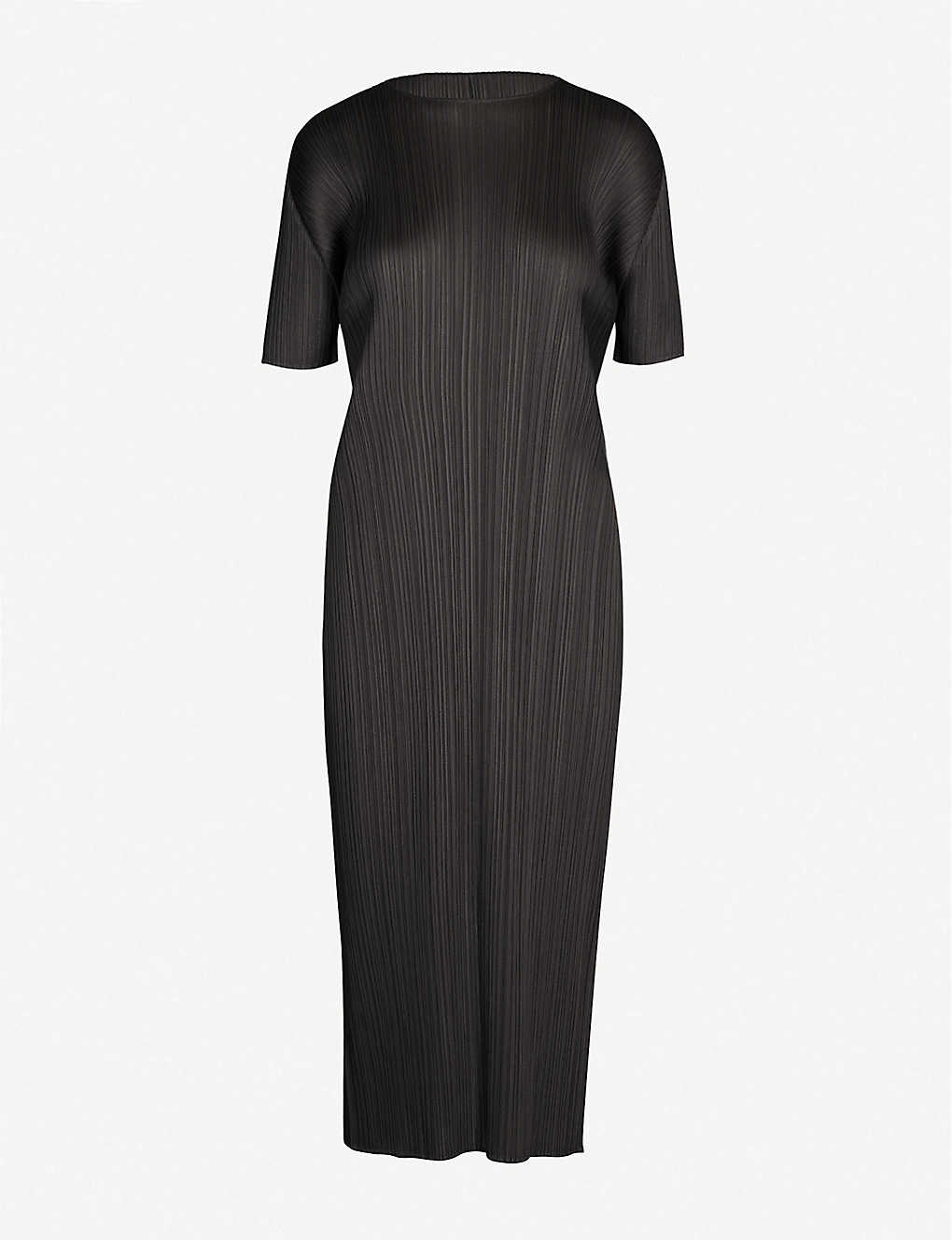 PLEATS PLEASE ISSEY MIYAKE: Pleated short-sleeved woven dress