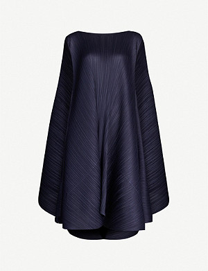 PLEATS PLEASE ISSEY MIYAKE Asymmetric-hem pleated woven dress