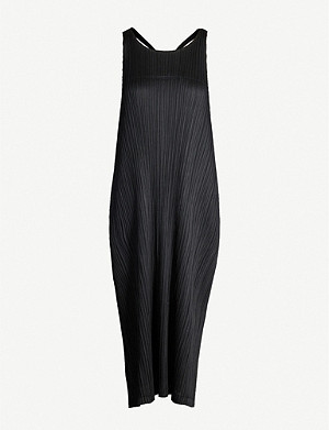PLEATS PLEASE ISSEY MIYAKE Scoop-neck sleeveless racerback pleated dress