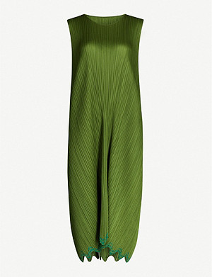PLEATS PLEASE ISSEY MIYAKE Ripple Waves scalloped sleeveless crepe dress