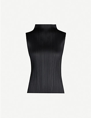 PLEATS PLEASE ISSEY MIYAKE: Basic high-neck sleeveless pleated crepe top
