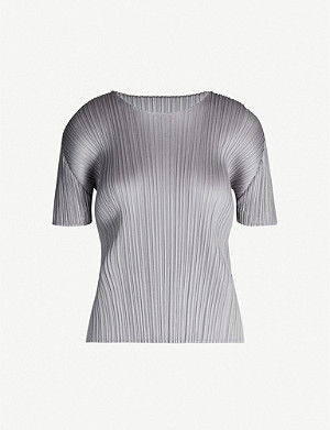PLEATS PLEASE ISSEY MIYAKE Basics round-neck satin pleated T-shirt