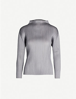 PLEATS PLEASE ISSEY MIYAKE: Basic high-neck long-sleeved pleated satin top