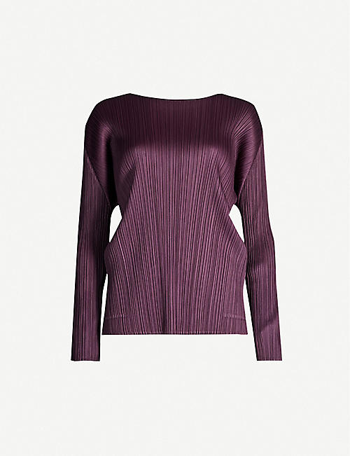 PLEATS PLEASE ISSEY MIYAKE Scoop-neck woven pleated top