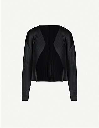 PLEATS PLEASE ISSEY MIYAKE: Basics long-sleeved satin pleated jacket